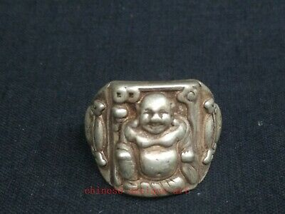 Antique Collection Chinese Tibet Silver Carvings Happy Maitreya Statue Ring Gift