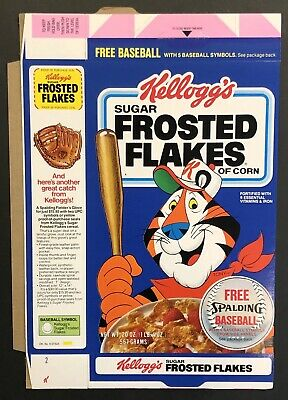 Vintage 1984 Kellogg's Frosted Flakes Unused Cereal Box,Spaulding Baseball Offer