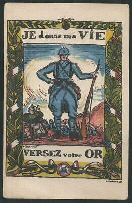 "France WWI ""I Give My Life"" propaganda card"