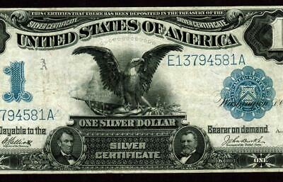$1 1899 : BLACK EAGLE : Silver Certificate ** MORE LARGE PAPER CURRENCY AUCTIONS
