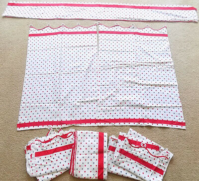 Vintage 50s Red Gray White Polka Dot Curtains 3 Pair 2 Valances