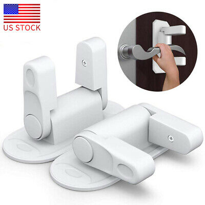 2 Pack Door Lever Lock Children Toddler Proof Safety Doors Handles 3M Adhesive