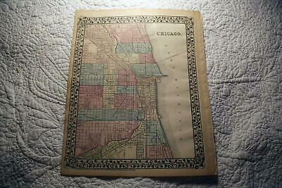 1877 Rare Beautiful Antique Mitchell Atlas Map Of Chicago-Handcolored