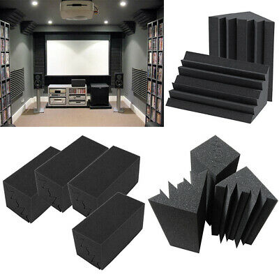 12 Wedge Bass Trap Acoustic Panels Studio Sound proofing Foam Corner Wall Tiles