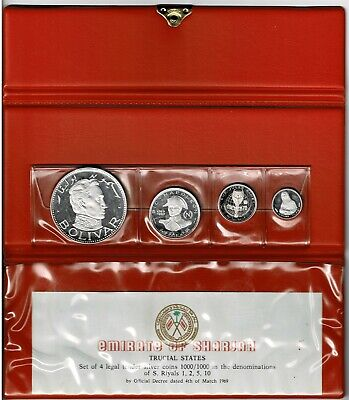 Sharjah Trucial States 4-Coin Silver Proof Set 1970 Scarce Napoleon Bolivar Etc