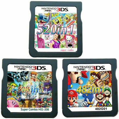 208/482/520 in 1 Video Games Cartridge Cards For DS NDS 2DS 3DS NDSI NDSL