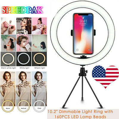10'' LED Ring Light Lamp Selfie Camera Phone Studio Tripod Stand Video Dimmable~