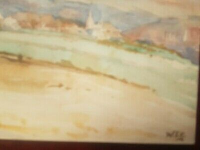 Churchill Winstonsmall vintage watercolour painting on board hand signed