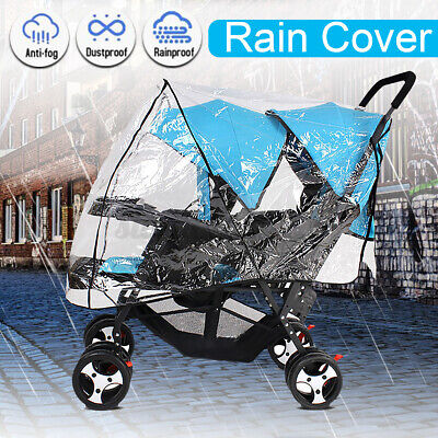 Twin Baby Carriage Rain Cover Stroller Infant Prams Clear Windproof Shield USA