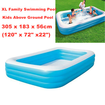 Large Family Swimming Pool Above Ground Inflatable Kids Play Pools 305x183x56cm