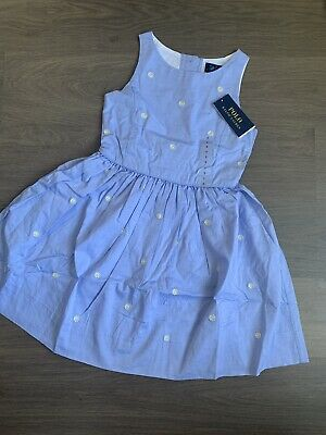 New Polo Ralph Lauren Girls Floral Daisy Skater Dress Size 6-7 Years 100% Cotton