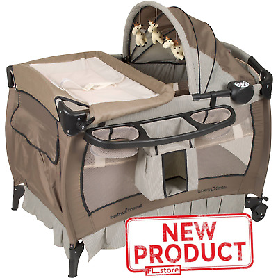 Baby Crib Nursery Playard Changing Table Safe Infant Bassinet Canopy Brown NEW