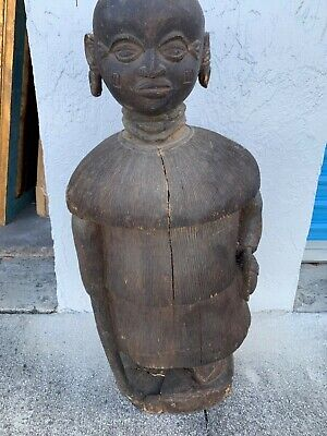"""Antique African  hand carved wood female figure in grass suit + earrings 26"""""""