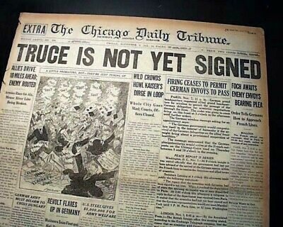 GERMANY SURRENDER World War I End Armistice NEARS Gen. Foch 1918 WWI Newspaper