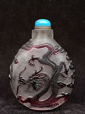 Rare Collection Old China Glaze Hand Carving Dragon Phoenix Statue Snuff Bottle