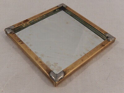 """VINTAGE BRASS BELL TELEPHONE LINEMAN'S REPAIR MIRROR MARKED BELL SYSTEM 3x3"""""""