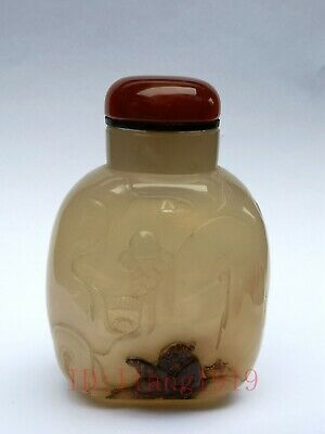 Collected Old China Natural Agate Hand Carving Landscape Figure Snuff Bottle