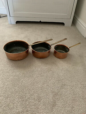 Vintage French Kitchen Set 3 Copper Cooking Saucepans With Cast Iron Handles