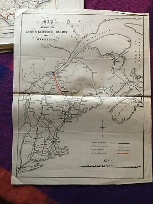 Original Antique Railway Map Canada Levi's To Kennebec 1890's