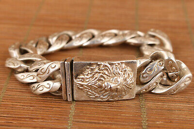 chinese Cool old tibetan silver hand carving lion statue bracelet noble gift