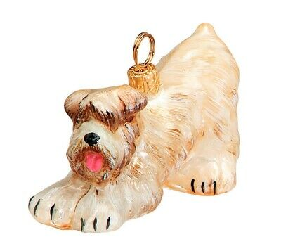 Bowing Soft Coated Wheaten Terrier Polish Blown Glass Christmas Ornament