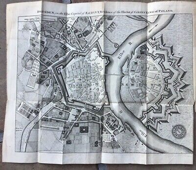 1759 Antique Map - City Plan of Dresden, Germany - Residence of King of Poland