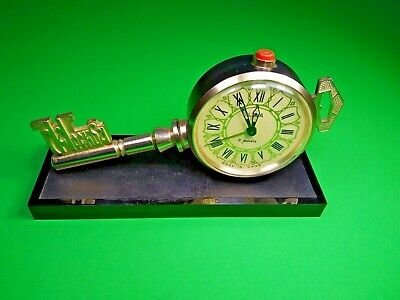 Vintage Antique Clock Moscow Key USSR SLAVA Table Alarm Collectible Mechanical