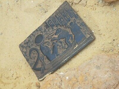Rare Antique Ancient Egyptian Stela Funeral Boat Gods Sceince Protection 1760 BC