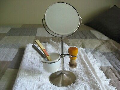 Vintage Barbershop Swivel Mirror with Glass Cup,Shaving Brush,and Straight Razor