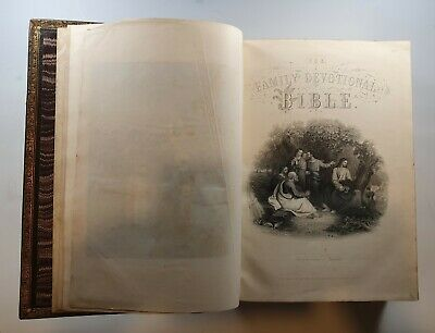 Antique Illustrated Victorian Family Devotional Bible, Matthew Henry