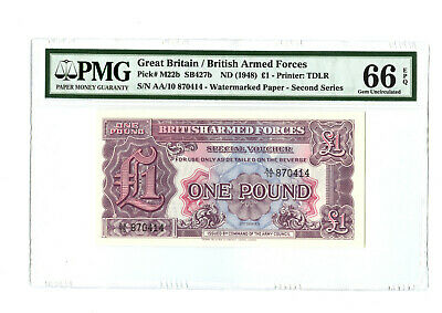 1948 (Nd) 1Pd Great Britain British Armed Forces Pmg 66 Banknote Watermarked