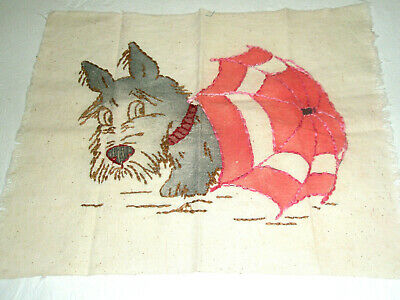 Vintage Fabric/Quilt Piece Scottie Dog Peeks From Beach Umbrella