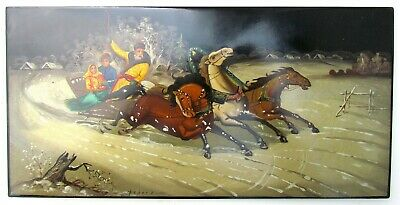 """RUSSIAN FEDOSKINO SCHOOL HAND PAINTED SIGNED LACQUER PLAQUE 7 by 13.5"""" vintage"""