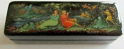 1986 Russian Palekh School Paper Mache Lacquer Box Signed Dated Vintage Small