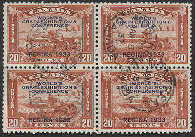 Canada #203 Grain Exhibition, F-VF Used Block of 4, Montreal CDS Cancels