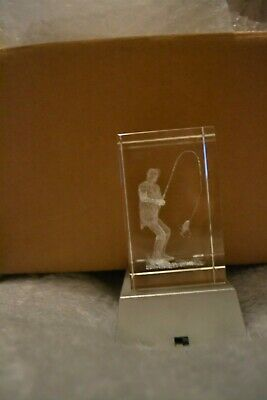 Laser 3D Etched Clear Crystal Fisherman Ornament Paperweight & Stand Used