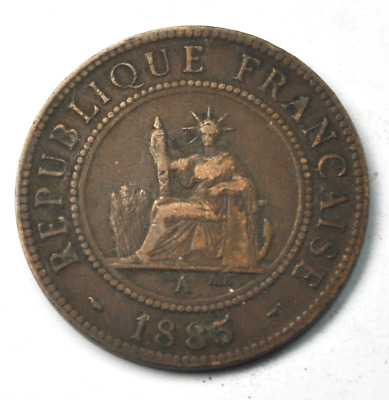 1885A One Cent 1c French Indo-China KM# 1 Rare