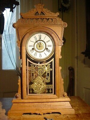 """Antique Rare New Haven 1881  """"Mersey Walnut Parlor Or Shelf Clock Working Well"""