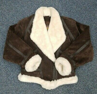 Wilsons Genuine Leather Jacket Brown Suede Adventure Bound Womens Large Faux Fur