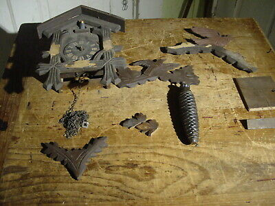 "Antique Miniature ""The May Co."" German One Weight 1890'S Cuckoo Clock Restore"