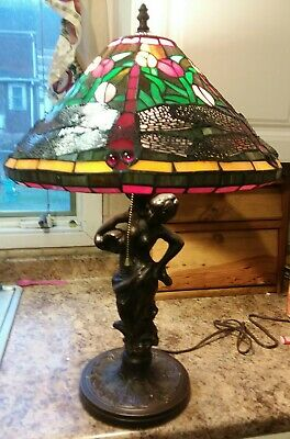 Dragonfly Lamp Tiffany Style Handcrafted Stained Glass Shade Bronze Tone Women
