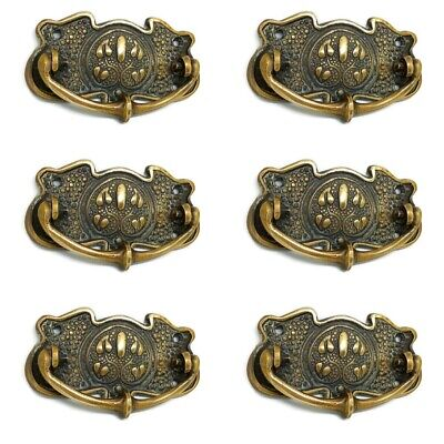 """6 heavy handles A17 aged pull solid brass heavy old vintage style drawer 4"""""""