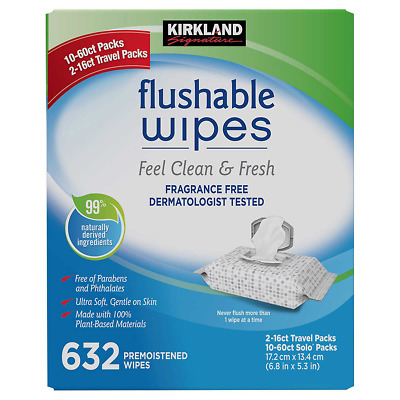 New Kirkland Signature Moist Flushable Fragrance Free Cleansing Wipes, 632 Wipes