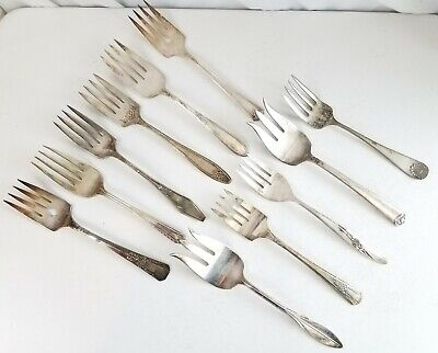 Antique vintage Silverplate Serving meat FORKS  lot of 11 LARGE Silverware