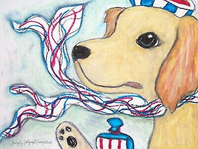 Golden Retriever Supermodel Collectible 8x10 Dog Art Print Vintage Style Signed