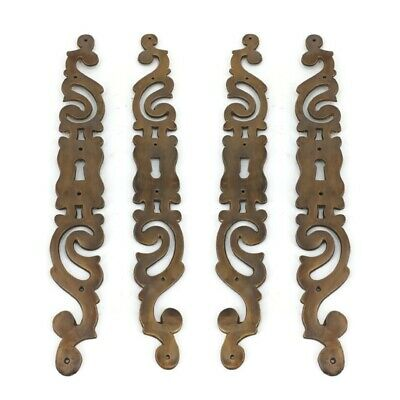 """4 large escutcheon french style cast aged brass 27 cm 11"""" Key Hole heavy cabinet"""