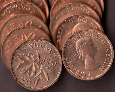 L@@K Very Nice Roll 1958 Canadain Small Cents (50 coins) ~ MS-63/64+ 95+% RED!