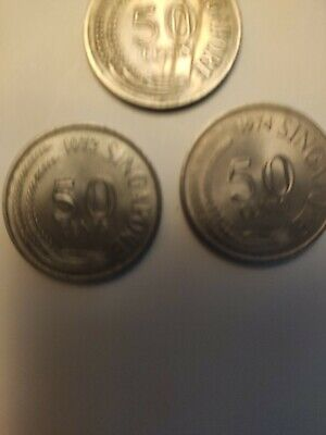 SINGAPORE 1967, 72 &74 fifty CENT COIN