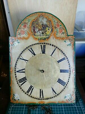 Antique hand painted wooden grandfather clock face