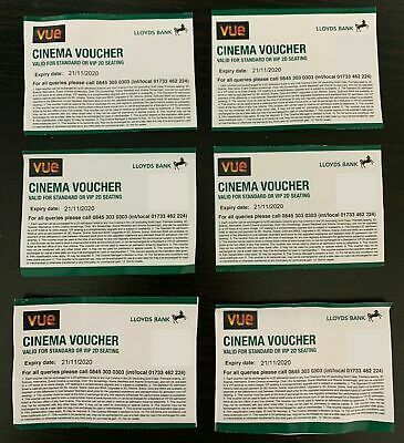 6 Vue Cinema Tickets * Long Expiry as valid until 18 May 2021 VIP